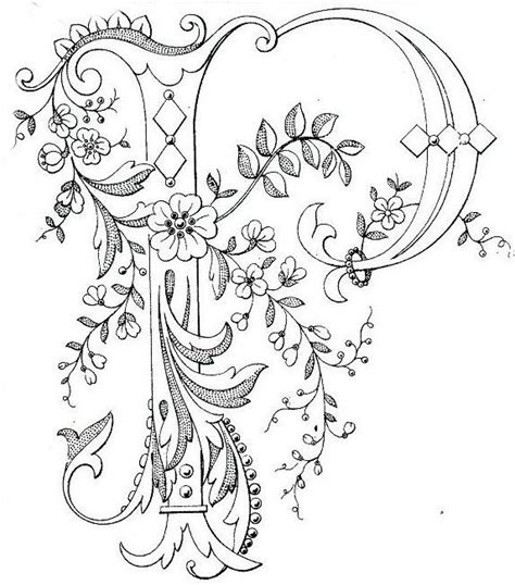beautiful letter p adult coloring blank pages  color embroidery lettering embroidery