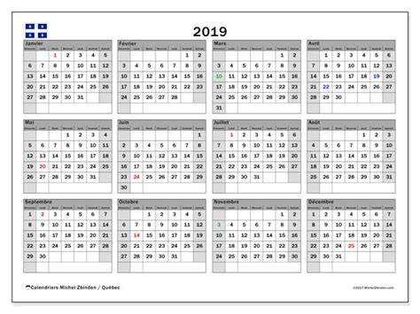 calendrier  quebec canada calendrier annuel