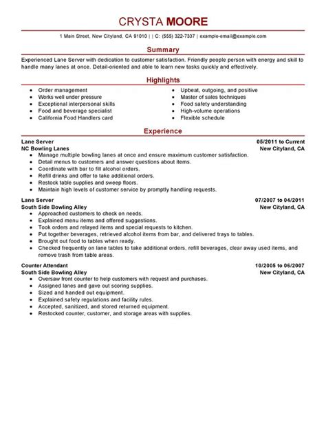 Using Server Experience On Resume by Unforgettable Server Resume Exles To Stand Out