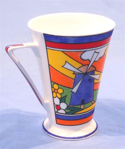 art deco clarice cliff style sunburst mug  wren sold