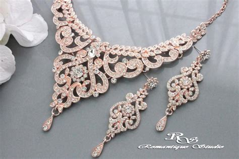 Wedding Jewelry Gold : Rose Gold Wedding Jewelry Set, Vintage Style Bridal