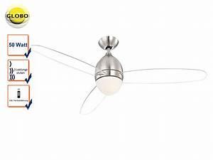 Deckenventilator Mit Licht Und Fernbedienung : deckenventilator mit licht fernbedienung 132cm 3 stufen beleuchtung globo eur 208 99 ~ Markanthonyermac.com Haus und Dekorationen