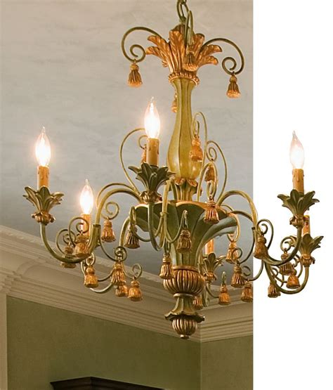 And Gold Chandelier by Italian Carved Wood Chandelier With Tassels Motif In