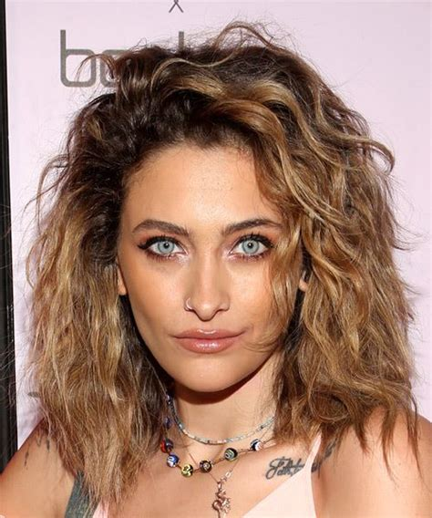 paris jackson medium wavy light brunette hairstyle