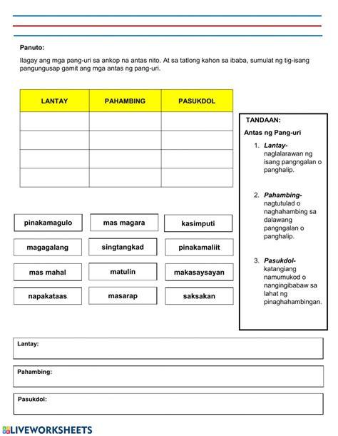 pang uri worksheets grade 5 antas ng pang uri interactive worksheet