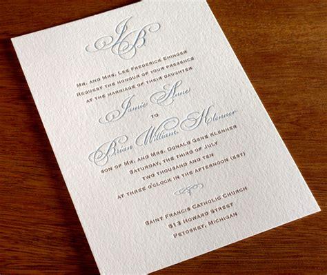 Monogram Letterpress Wedding Invitation Gallery Black