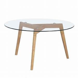 Table Basse Bois Et Verre : table basse ronde 90cm ingmar en verre et bois ~ Teatrodelosmanantiales.com Idées de Décoration