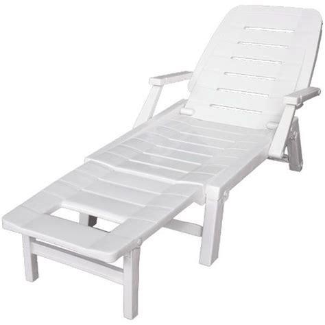 chaise longue en plastique blanc transat blanc multipositions en résine trigano store