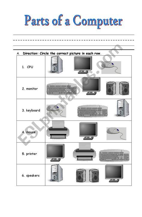 computer parts esl worksheet  lalainee