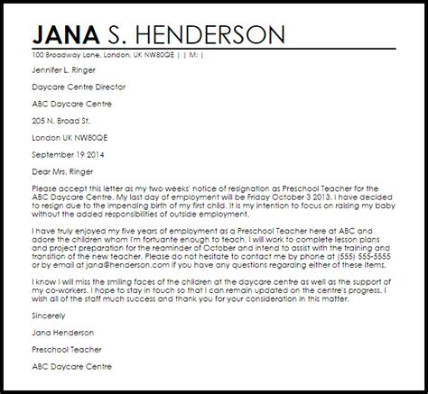 daycare resignation letter  letter samples
