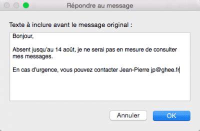 mac de bureau créer un message d 39 absence dans mail mac