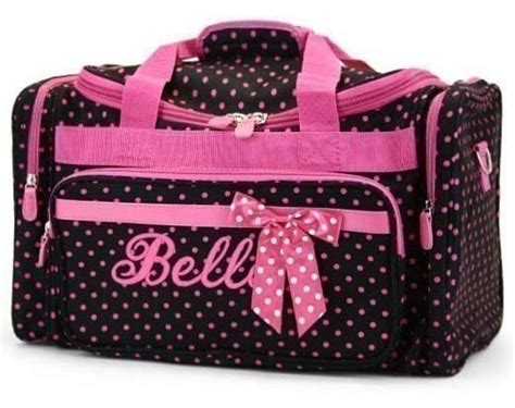 personalized duffle bag black pink polka dots dance bag