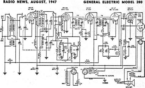 general electric 280 schematic parts list august 1947 radio news rf cafe