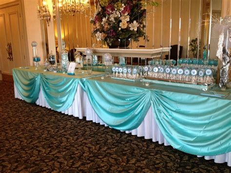 deco table turquoise chocolat tables white satin and satin bows on