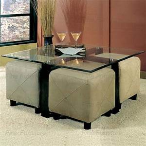 Glass coffee table and 4 ottoman storage cube seating for Glass cube coffee table