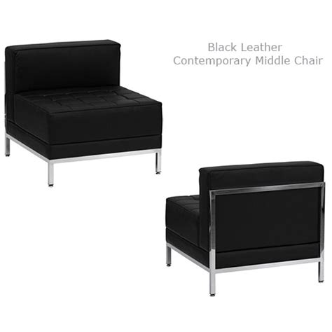 contemporary black leather middle chair all out event rental