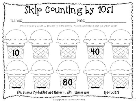 skip counting by 10s worksheets kindergarten 100th day of school thematic unit sprinkles count and