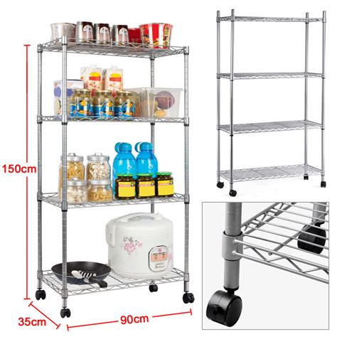 Heavy Duty 4tier Chrome Metal Kitchen Storage Unit Shelf