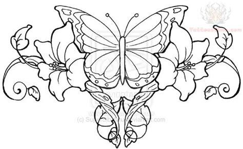 Butterfly Vines Lowerback Tattoo Design
