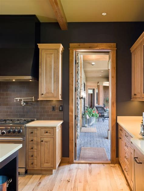 charcoal walls  natural maple cabinets home interior