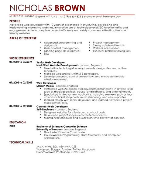 Web Developer Resume Format by Web Developer Resume Template Free Sles Exles