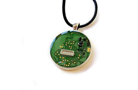Circuit Board Necklace Green Upcycled