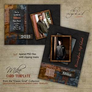 Trading Card Template Photoshop Graduation Announcement Card Template For Photographers 5x7