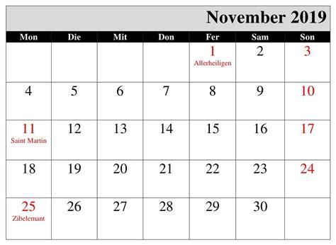 kalender november  mit feiertagen calendar