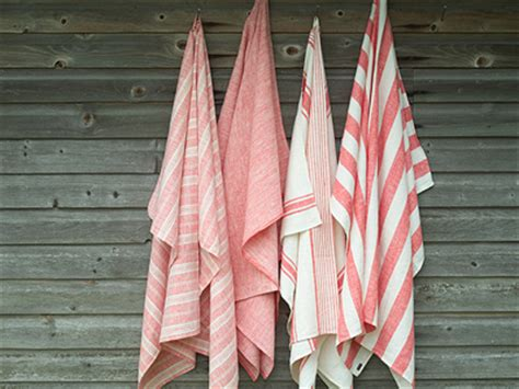 red striped linen bath towels