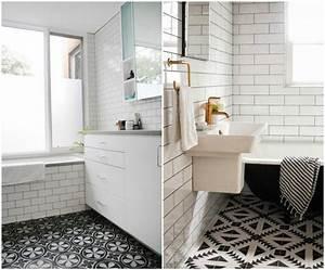 Carrelage Noir Salle De Bain : carrelage salle de bain noir et blanc duo intemporel ~ Dailycaller-alerts.com Idées de Décoration