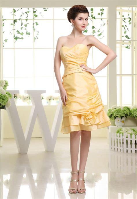 Knee Length Taffeta Sweetehart Yellow Prom Dress | Prom ...