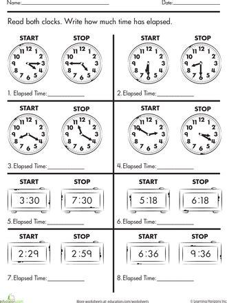 Calculate Elapsed Time  Balanced Schooling Homeschool  Math Classroom, Math Lessons, Math School
