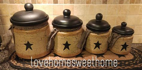 country canister sets for kitchen primitive crackle black ceramic canisters set