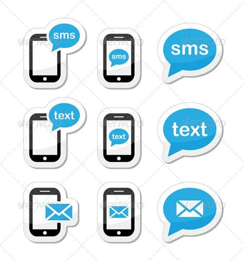 Free Mobile Text Message by Mobile Sms Text Message Mail Icons Set As Labels Icon