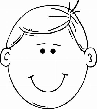 Outline Face Clip Label Cartoon Boy Blank