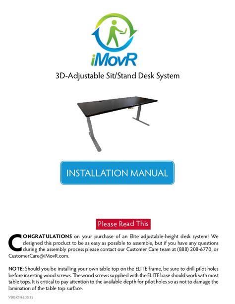 elite vessel installation instructions imovr thermodesk elite adjustable height standing