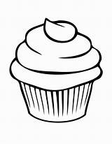 Cupcake Outline Drawing Cupcakes Clipart Cake Coloring Clipartion Printable Template Birthday Sweet Candle sketch template