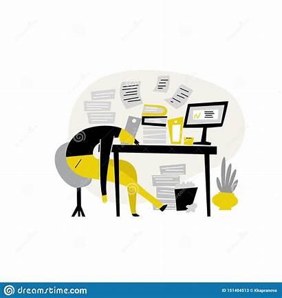 Procrastination Funny Illustrazione Professional Indugio Maschio Stanco