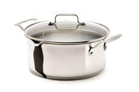 sale emeril   clad  stainless steel  quart soup pot  pour spouts