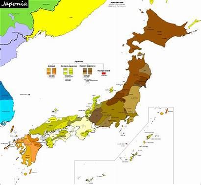 Japan Map Linguistic Ainu Carte Ocean Japon