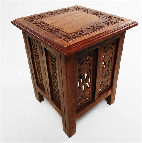 hand carved end tables beautiful antique effect hand carved indian wooden table