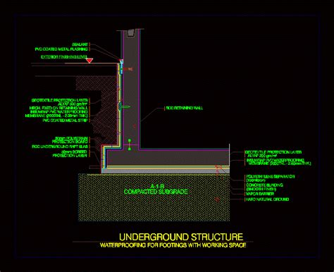 waterproofing bases dwg detail  autocad designs cad