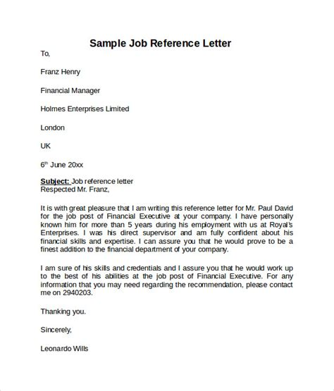 job reference letter   samples examples formats