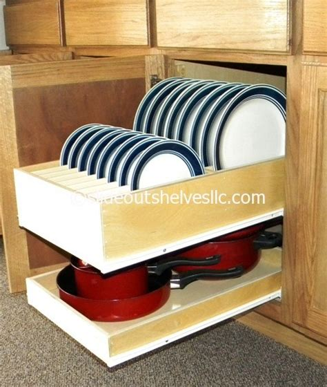 kitchen cupboard plate storage pull out dinner plate shelf by slideoutshelvesllc 4351