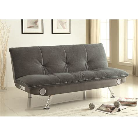 gray sofa bed w speakers