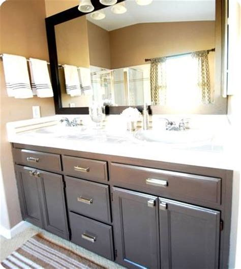 how to refinish bathroom vanity cabinets budget bathroom makeover linky centsational style 25477