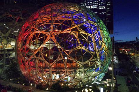 pride amazon spheres colorful glow tech giant