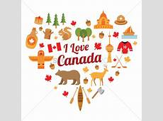 Set of i love canada icons Vector Image 1965128