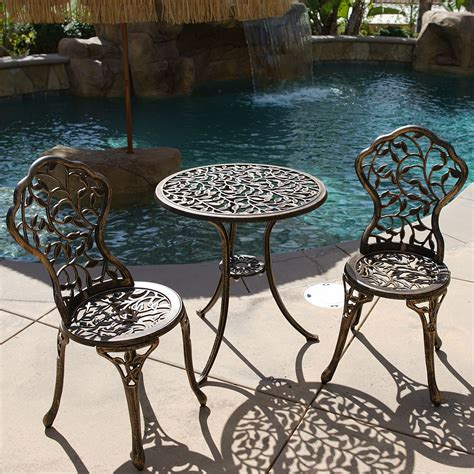 3pc bistro set in antique outdoor patio furniture leaf