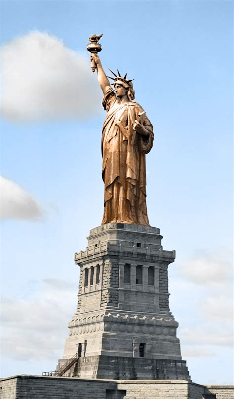 original statue of liberty color the statue of liberty colorized from an black and